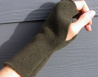Fingerless Gloves Mittens - Mocha Charcoal Gray Sweater Fleece for LADIES