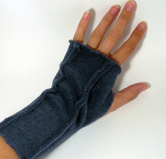Sweater Fleece Fingerless Gloves... Soft Navy (Insides Out)