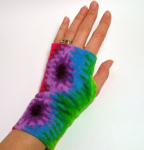 Rainbow Fleece Hand Arm Wrist Warmers Fingerless Gloves for LADIES