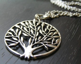 SALE Tree of Life Long Silver Necklace