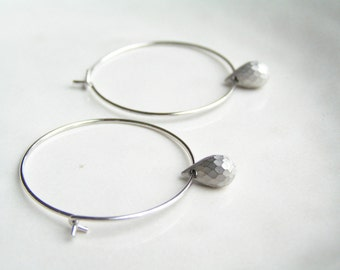 Silver Tear Drop Hoop Earrings