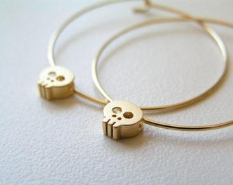 Gold Skull Hoop Earrings