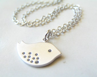 Silver Chick Charm Necklace