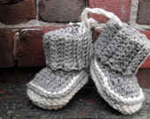 Heather Grey Wool Booties Size 12 Months