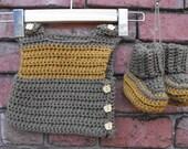 New Baby Washable Merino Wool Vest and Booties Set 0-6 Months - Baby Gift Set - Newborn Gift Set