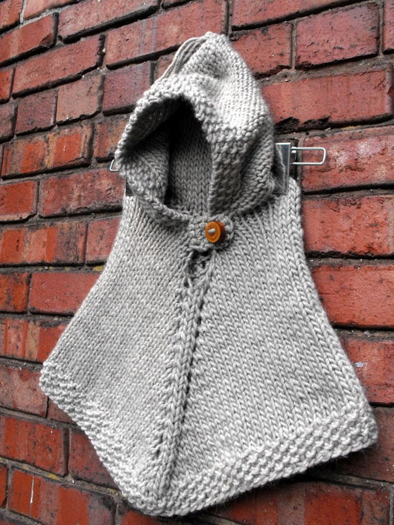 Items similar to Hand Knit Hooded Poncho Size 1 to 2 Years ...