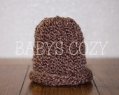 FREE SHIPPING - Rich Earth Brown Knitted Newborn Baby Hat