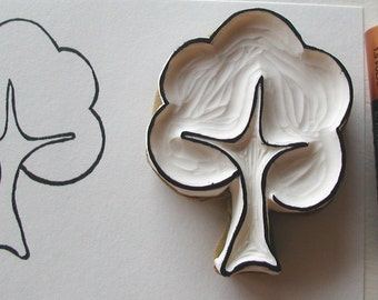 little bushy tree- hand carved rubber stamp