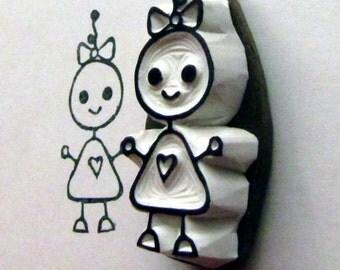 baby girl bot robot stamp