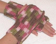 HUGE Sale!~Beautiful Hand Crocheted Fingerless Gloves Wrist Warmers Texting Gloves Vegan Friendly-PINK Camouflage