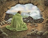 Thank You For Sheltering Me- A man meditates in solitude in the cave dwelling by the sea