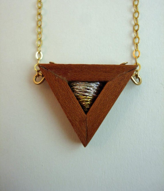 Geometric embroidered wooden pendant necklace -- Tri No.5