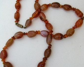 Banded Agate // Vintage Necklace // Long // Bohemian