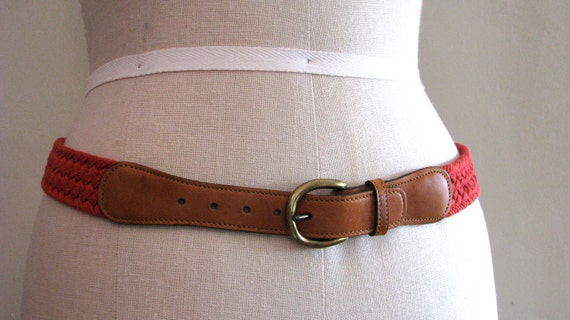 Vintage belt L.L. Bean leather and red canvas.
