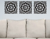 Floral Damask Motif Trio - Vinyl Wall Decal 3 Panel Design Vinyl Wall Art Sticker Graphic