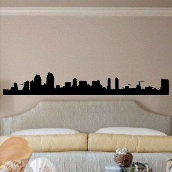 San Diego Skyline 11 inches tall by 80 inches long Vinyl Wall Art Decals