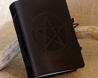 A6, Standard, Leather Bound Journal, Pentagram Journal, Pentacle Notebook, Black Leather, Book of Shadows, Magical Diary, Personalized.