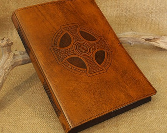 A4, Large, Leather Bound Journal, Celtic Cross, Celtic Knot, Brown Leather, Leather Notebook, Blank Book, Christian Journal, Personalized.