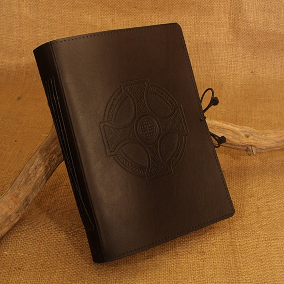 A5, Medium, Leather Bound Journal, Celtic Cross, Celtic Journal, Black Leather, Irish Journal, Leather Notebook, Blank Book, Personalized.
