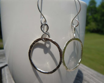 Sterling Silver Hoop Earrings Hammered Hand Forged Metal Jewelry