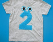 Number 2-Monster Fuzzy Shirt, grey w/blue, short-sleeve