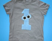 Number 1-Monster Fuzzy Shirt, grey w/BLUE, short-sleeves