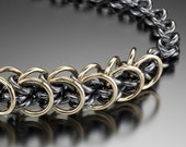 HOLD FOR MAXI Oxidized Silver and Gold Chain Link Necklace Dark Palette Fall Winter