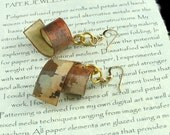 Lightweight Dangle Earring/Pendant -  Brown, Beige, Russet with Gold Filled Ear Wires