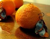 Burnt Orange Cobalt Blue Petal Earrings -  Statement, Dangle, Metal, Paper, Hypoallergenic