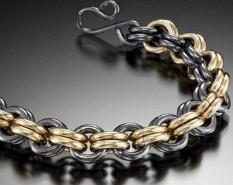 Silver and Gold Chain Link Bracelet