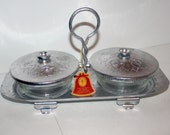 Vintage Double Relish Dish Server Continental Aluminum Glass NWT