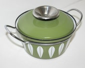 Vintage Covered Casserole Dish Pan Catherine Holm Enamel Olive Green Enamelware Norway