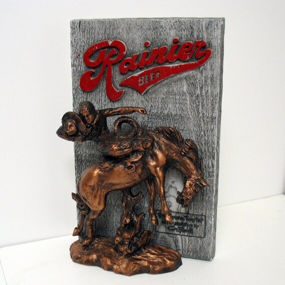 Vintage Rainier Beer Charles Russell Sign Bronco Twister