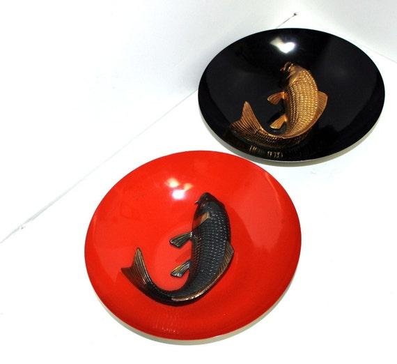 Vintage Japan Fish Bowls Metal Wall Hanging Carp Japanese Orange Black Gold