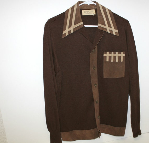 Vintage Damon Italy Mens Shirt Hippie Knit Suede By