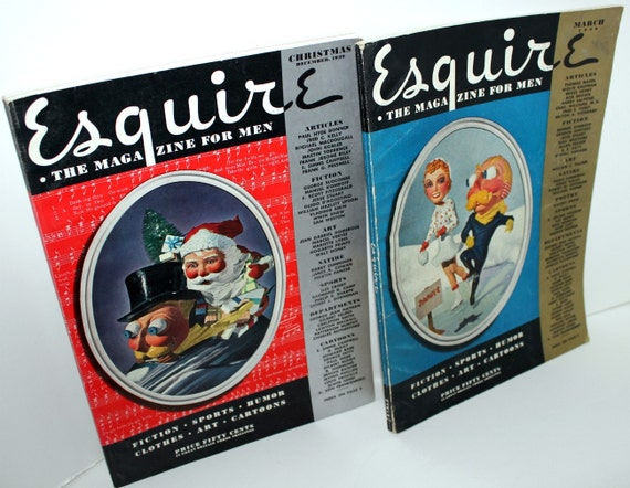 2 Esquire 1939 Magazines Pin Up Centerfold Posters Girls Christmas Issue Vintage