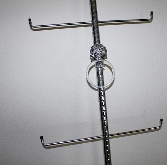 Vintage Chrome Towel Rack Tension Pole Floor to Ceiling Mid Century Regency