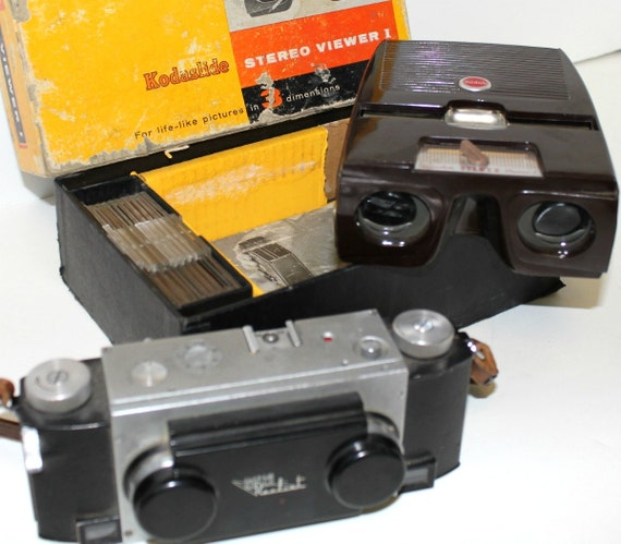 Vintage Kodak Kodaslide Stereo Viewer I and Realist 3D Camera