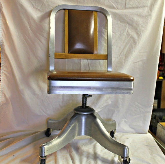 Shaw Walker Rolling Office Chair Machine Age Industrial