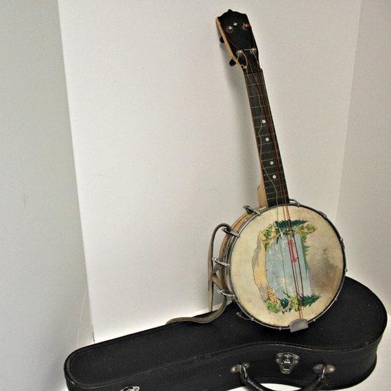 Vintage Ukulele Banjo Uke Banjolele In Case