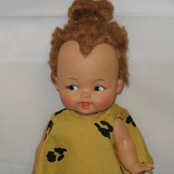 1960s Vintage Pebbles Flintstone Doll in Box by Ideal