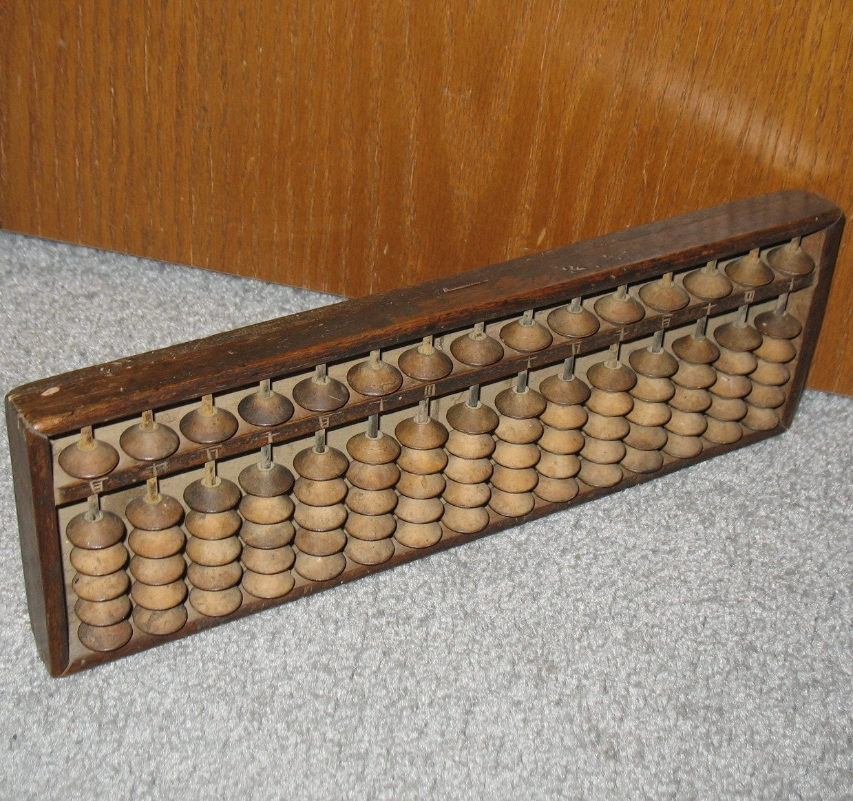 Antique chinese abacas wood adding machine math calculator