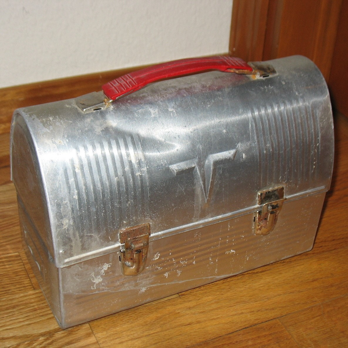 Vintage Aluminum Thermos Lunch Box Lunchbox Industrial Dome