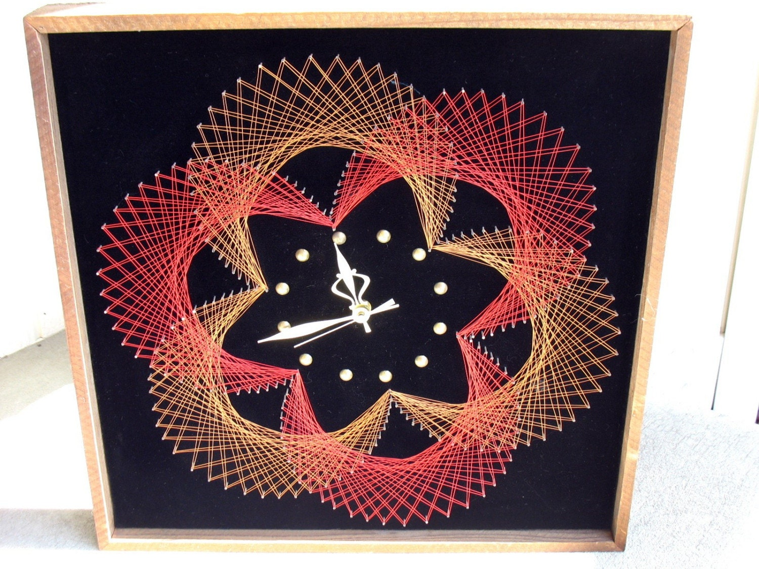 Vintage String Art Clock Black Velvet Red Copper Mod 70s