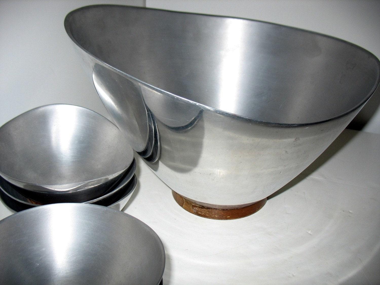 Vintage Aluminum B Amp B Remembrance Salad Bowl Serving Set