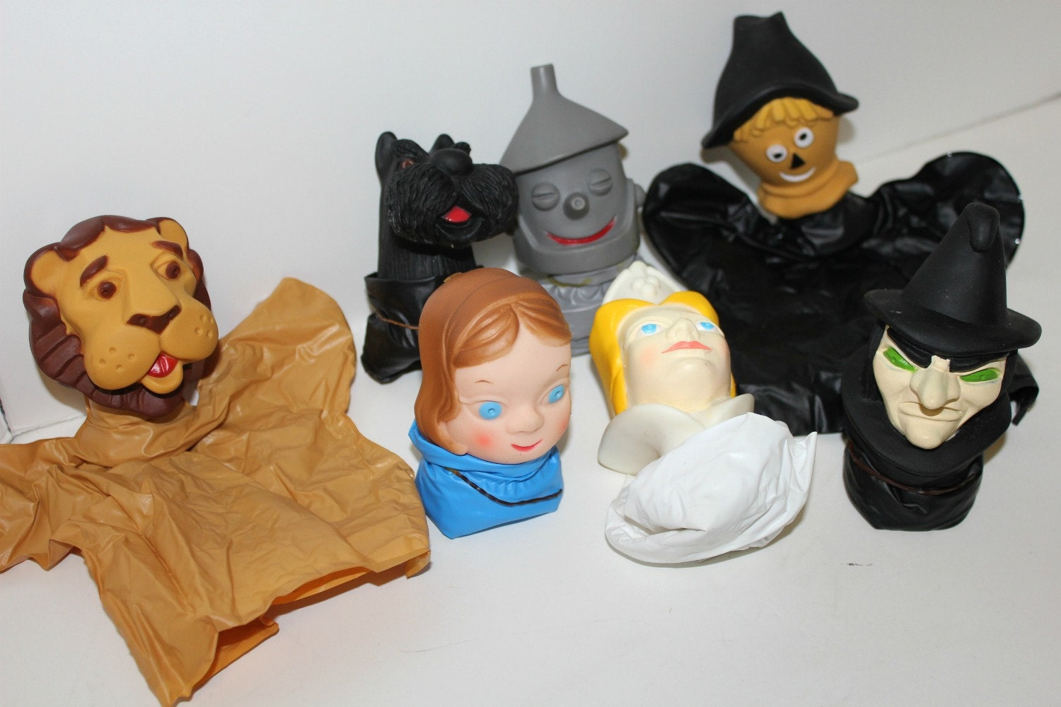 Vintage Wizard Of Oz Set 7 Puppets Ivory Snow Premium