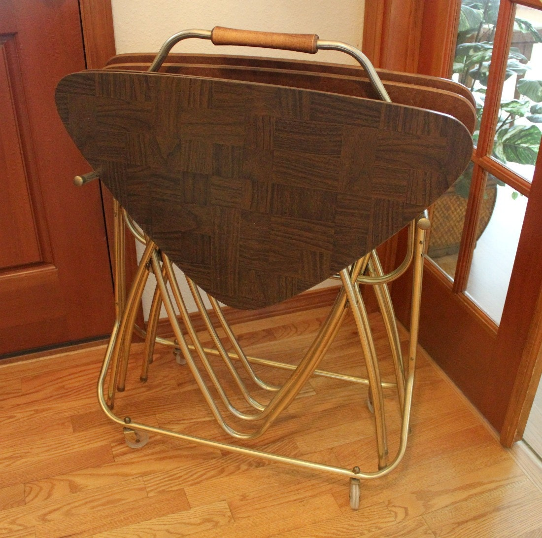 Set 4 Tv Trays With Rolling Stand Atomic Eames Mid Century