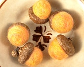 Needle felted acorns with real caps (medium gold) set of five