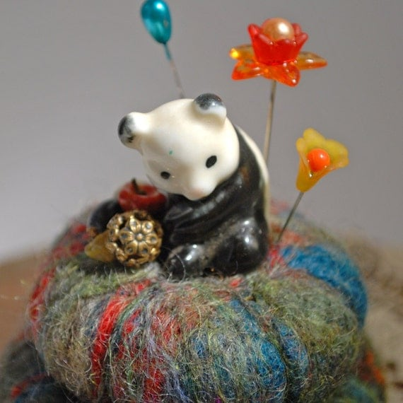 Needle felted pincushion with vintage figurine (Panda)