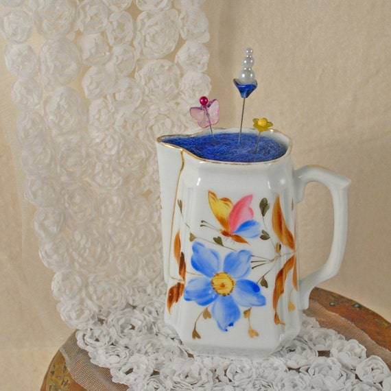 Up-cycled vintage creamer into a stunning pin cushion (Hand painted with gold accents)